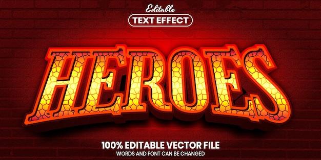 英雄のテキスト、フォントスタイルの編集可能なテキスト効果