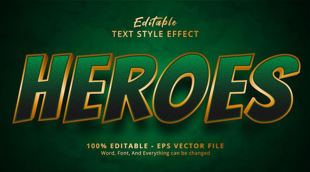 Heroes text on green movie style effect, editable text effect