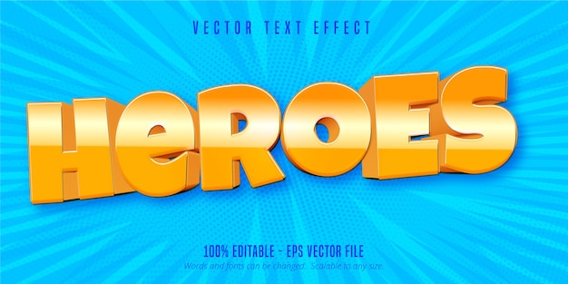 Heroes text, mobile game style editable text effect