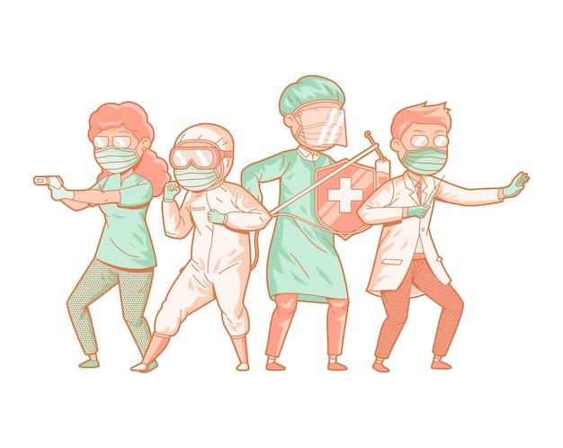 Героические медицинские работники борются с covid 19 иллюстрация