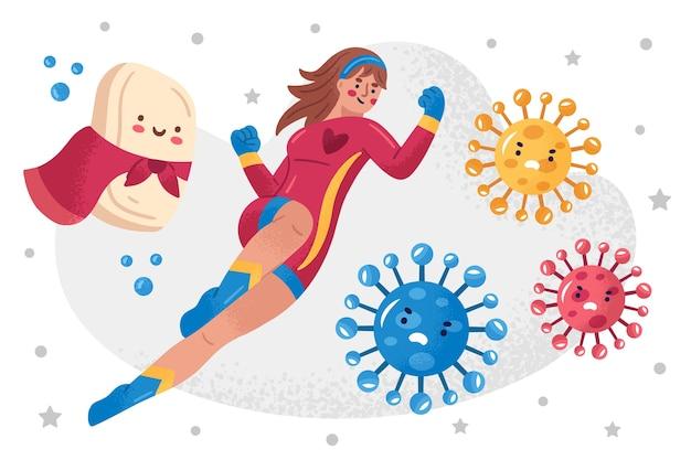 ウイルスと戦う英雄的な女性と石鹸