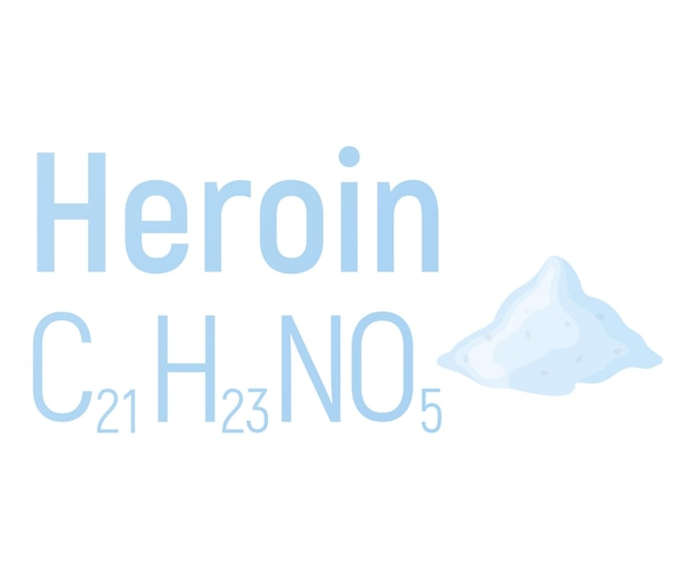 Heroin concept chemical formula icon label, text font vector illustration, isolated on white. periodic element table, addictive drug stuff.