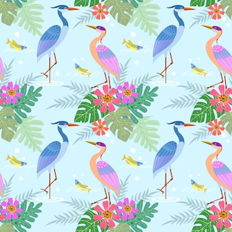 Heron bird with flowers seamless pattern.