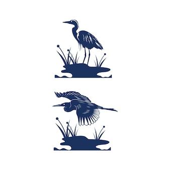 ヘロンダイサギ鳥のシルエット
