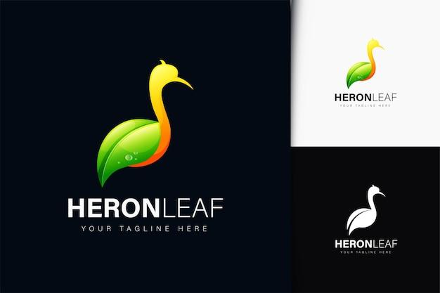 그라데이션이 있는 헤론 잎 로고 디자인