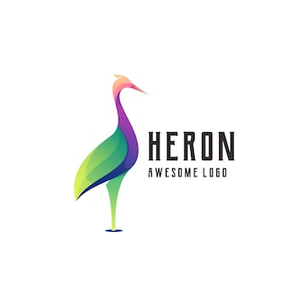 Heron logo illustration colorful abstract