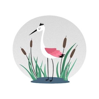 Heron in reeds.