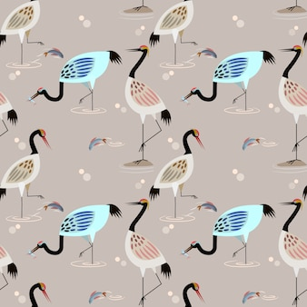 Herons in pond catch fish for food seamless pattern.