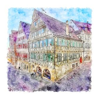 Herrenberg 독일 수채화 스케치 손으로 그린 그림