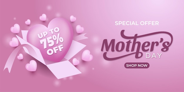 Hers day special offer 75 off sale banner with hearts