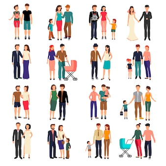 Heterosexual couples and families with children flat set isolated on white background vector illustr