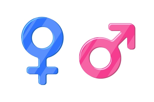 Heterosexual gender symbol mars and venus icon set. male and female vector sign. isolated sex pictogram illustration