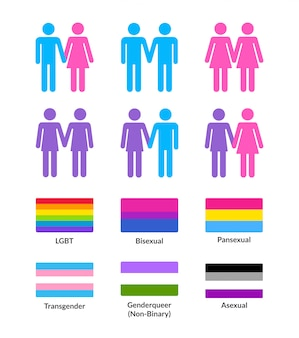 Heterosexual and homosexual couples with lgbt flags