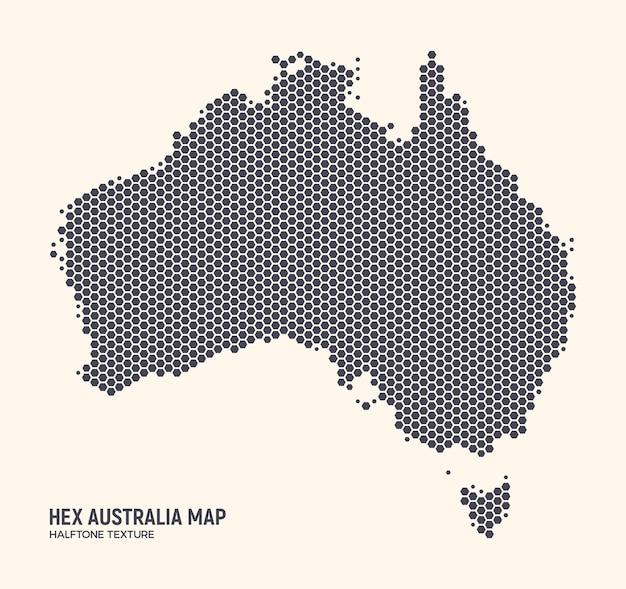 明るい背景に分離された16進オーストラリア地図。六角形のハーフトーンのオーストラリア大陸の壁紙