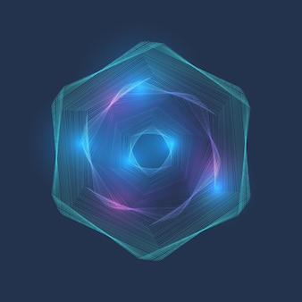 Hex vortex dotted, lines connection.