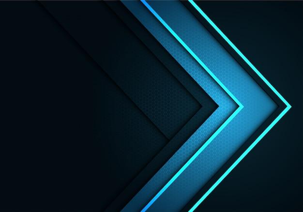 Hex六角形のメッシュパターンの背景色を持つ灰色の青い矢印の方向