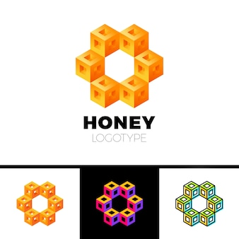Hexagon 3d cube or hexagon frame honeycomb letter logo