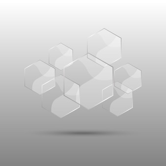 Hexagon abstract background with transparent elements