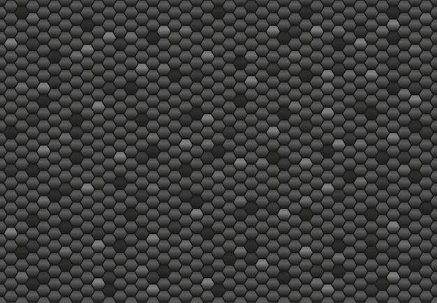 六角形のブラックカーボンのシームレスパターン。抽象的な背景