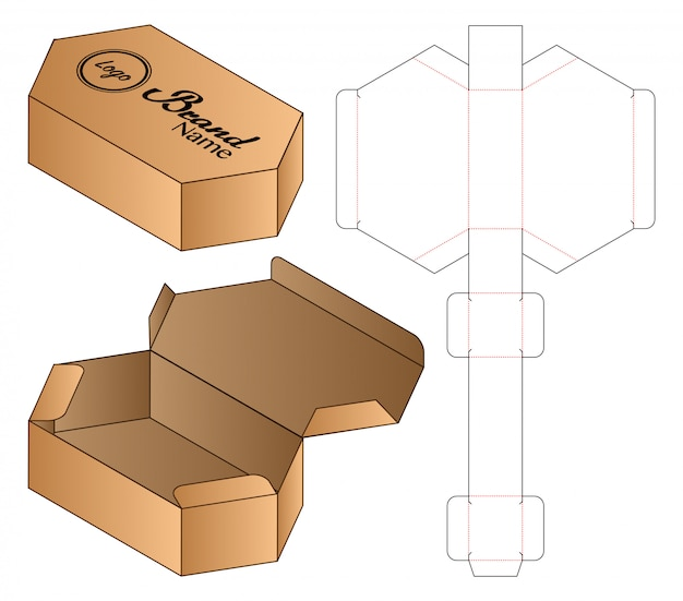 Hexagon box packaging die cut template design.