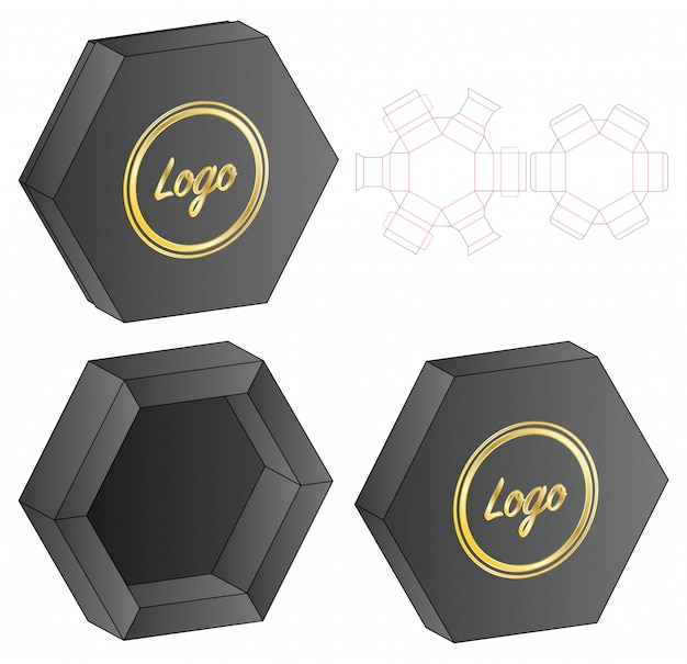 Hexagon box packaging die cut template