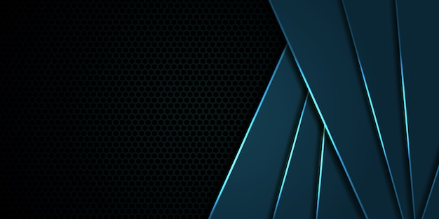 Hexagon carbon fiber navy blue background with blue luminous lines and highlights. modern technology background.