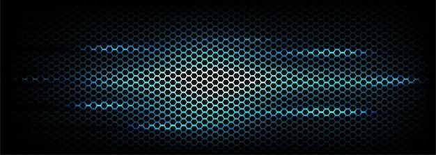 六角形炭素繊維テクスチャバナー背景新技術青抽象的なベクトル図