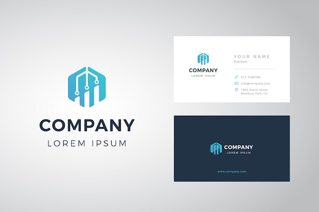 Hexagon chart logo and business card