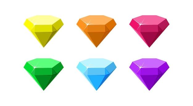 Шестиугольные красочные драгоценные камни, рубин, изумруд, аметист, бриллиант и кварц, вид сбоку