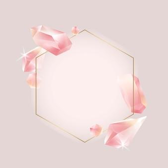 Hexagon crystal frame vector
