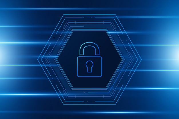 Hexagon cyber security technology concept