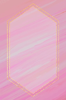 Hexagon frame on pink background