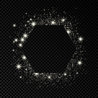 Hexagon frame with silver glitter on dark transparent  background. empty background. vector illustration.