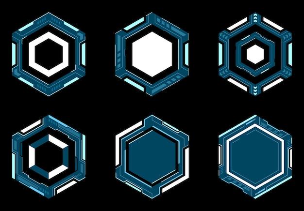 Hexagon futuristic frame hud digital technology.