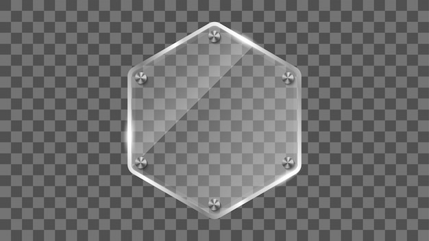 Hexagon glass frame, reflecting glass banner.