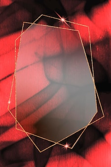 Hexagon gold frame on abstract background