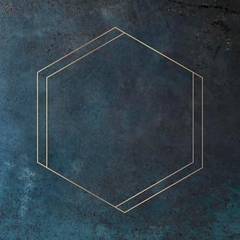 Hexagon gold frame on grunge blue background