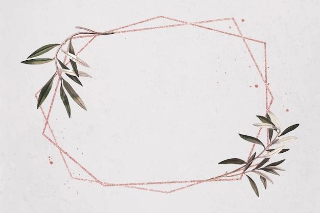 Шестиугольник золотой раме оливковая ветвь узор вектор