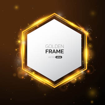 Hexagon gold frame with light effect.