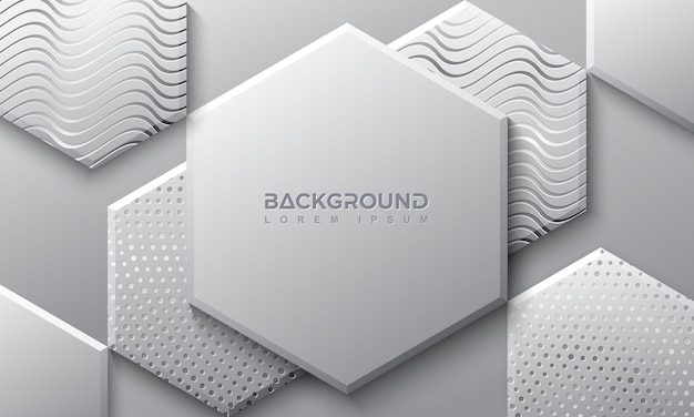 Hexagon gray background with 3d style.