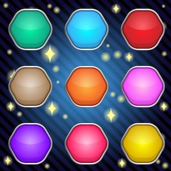 ゲームやウェブデザインのためのボーダーメタルの六角形。