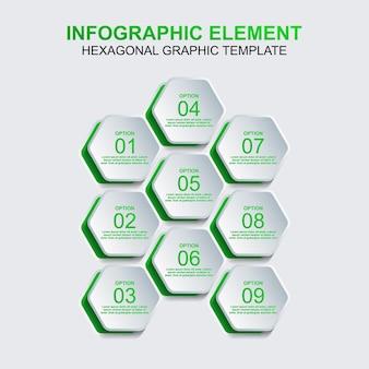 9つのステップまたはオプションを持つ六角形のインフォグラフィック要素ベクトルテンプレート