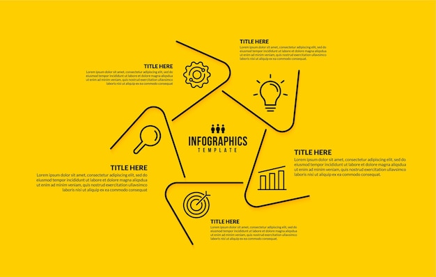 Hexagon infographic template with 5 options thin line business icons design concept