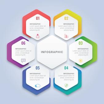ワークフローのレイアウト、図、年次報告書、webデザインのための6つのオプションを持つ六角形のインフォグラフィックテンプレート