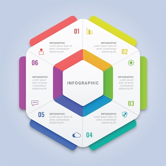 Hexagon infographic template with six options for workflow layout, diagram, annual report, web design