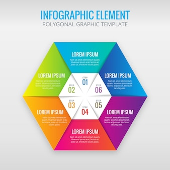 Hexagon infographic with 6 colors