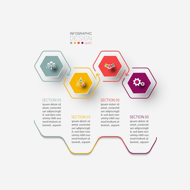 Инфографика шестиугольника по графическому искусству.