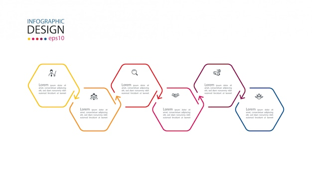 Hexagon inforgraphics with six steps