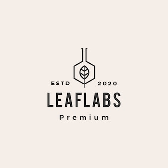 Hexagon leaf lab labs hipster vintage logo icon illustration