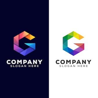 Hexagon letter g gradient logo combination color vector template
